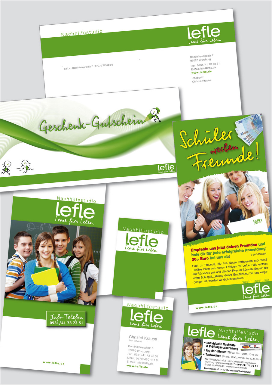 LefLe Nachhilfestudio - Geschäftsausstattung (Logo/Anzeigen/Druck/Web/Werbetechnik)
