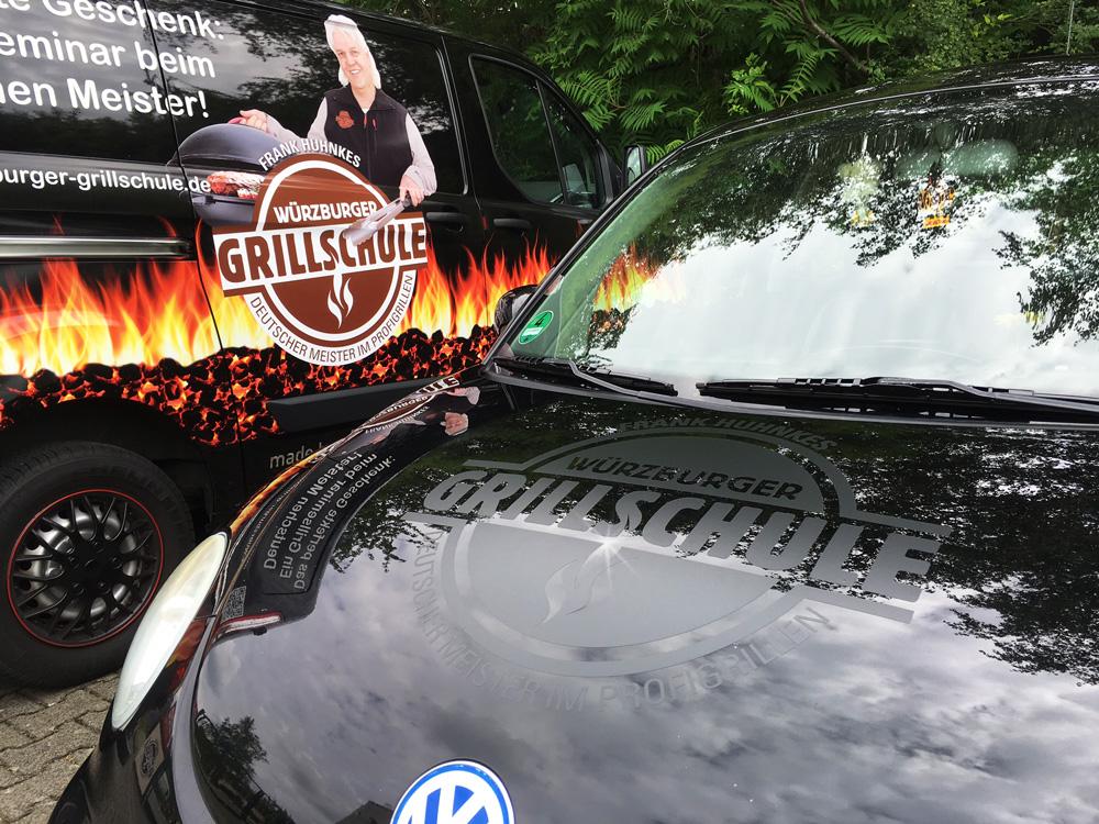 Fahrzeugbeklebung, Fahrzeugbeschriftung, Folienbeklebung, Folienbeschriftung, Würzburger Grillschule VW Beetle & Transporter