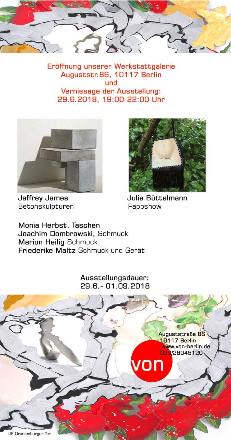 Jeffrey James, Betonskulpturen; Julia Büttelmann, Pappshow