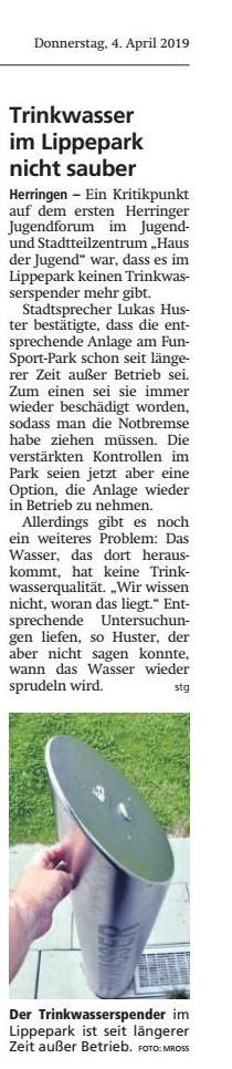 04.04.19 - Trinkwasser im Lippepark nicht sauber