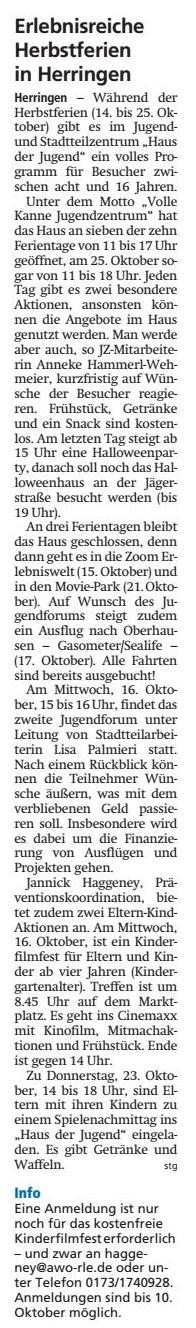 WA 10.10.19 - Erlebnisreiche Herbstferien in Herringen