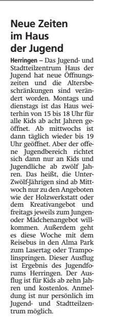 WA 16.11.19 - Neue Zeiten im Haus der Jugend