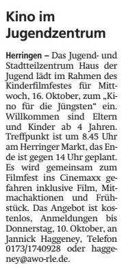 WA 05.10.19 - Kino im Jugendzentrum