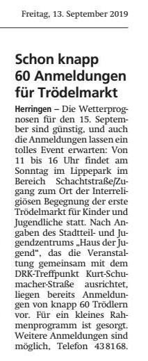 WA 13.09.19 - Schon knapp 60 Anmeldungen für Trödelmarkt