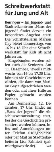 WA 10.12.2019 - Schreibwerkstatt für Jung und Alt