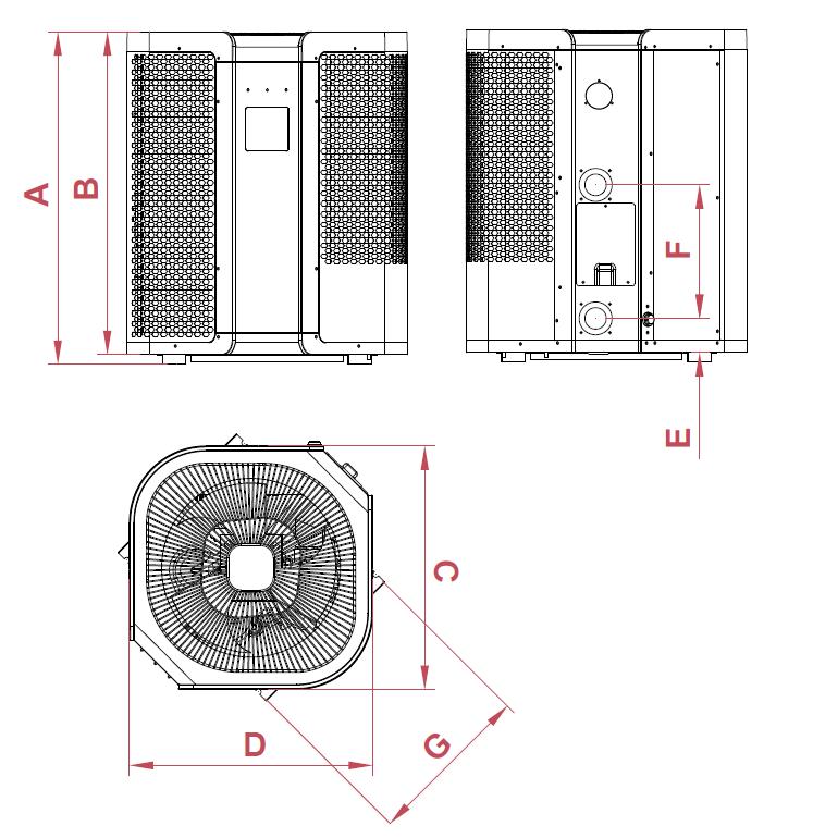 Dimensioni pompe di calore per piscine Vertigo FI