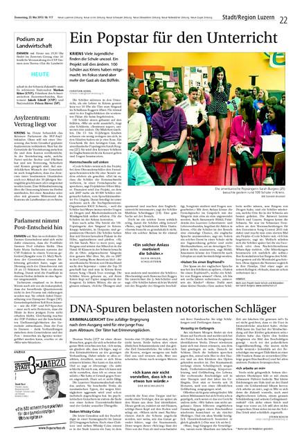Neue Luzerner Zeitung. Um zu lesen nachfolgendes PDF herunterladen