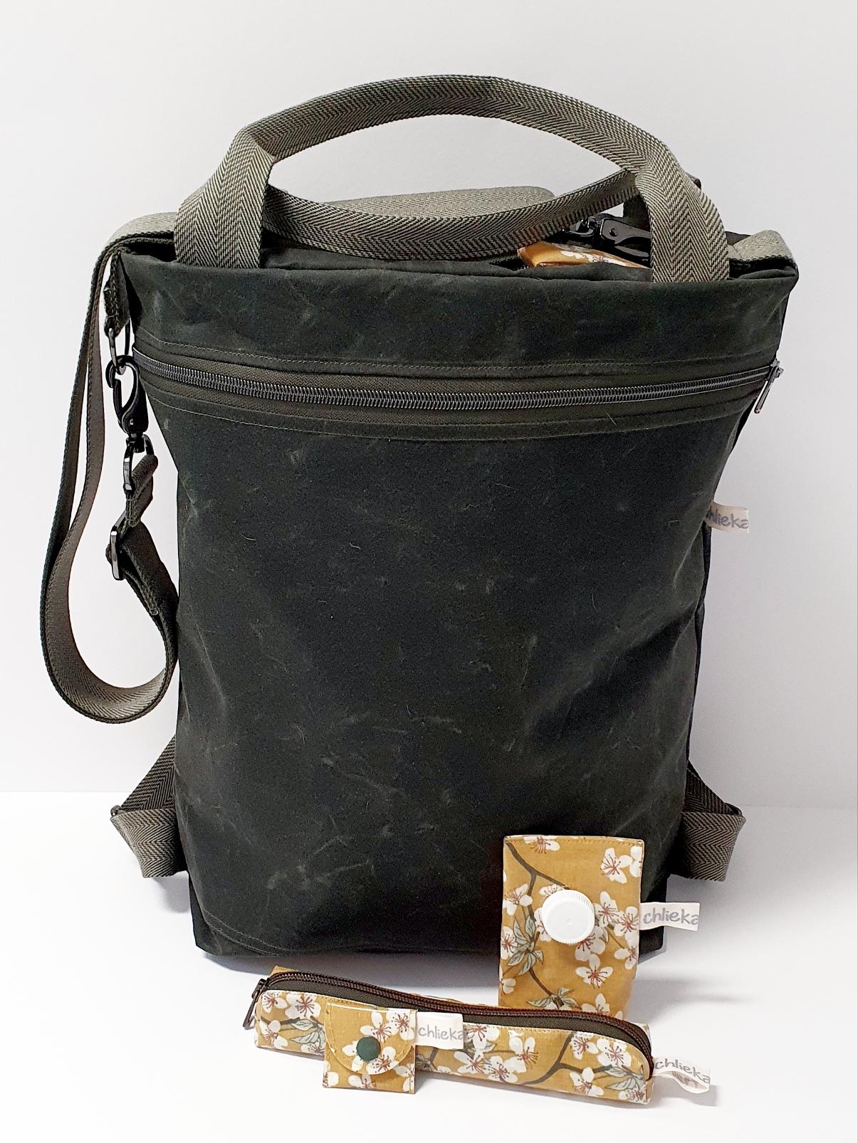 3in1 Bag Oilskin khaki, Kaugummietui,