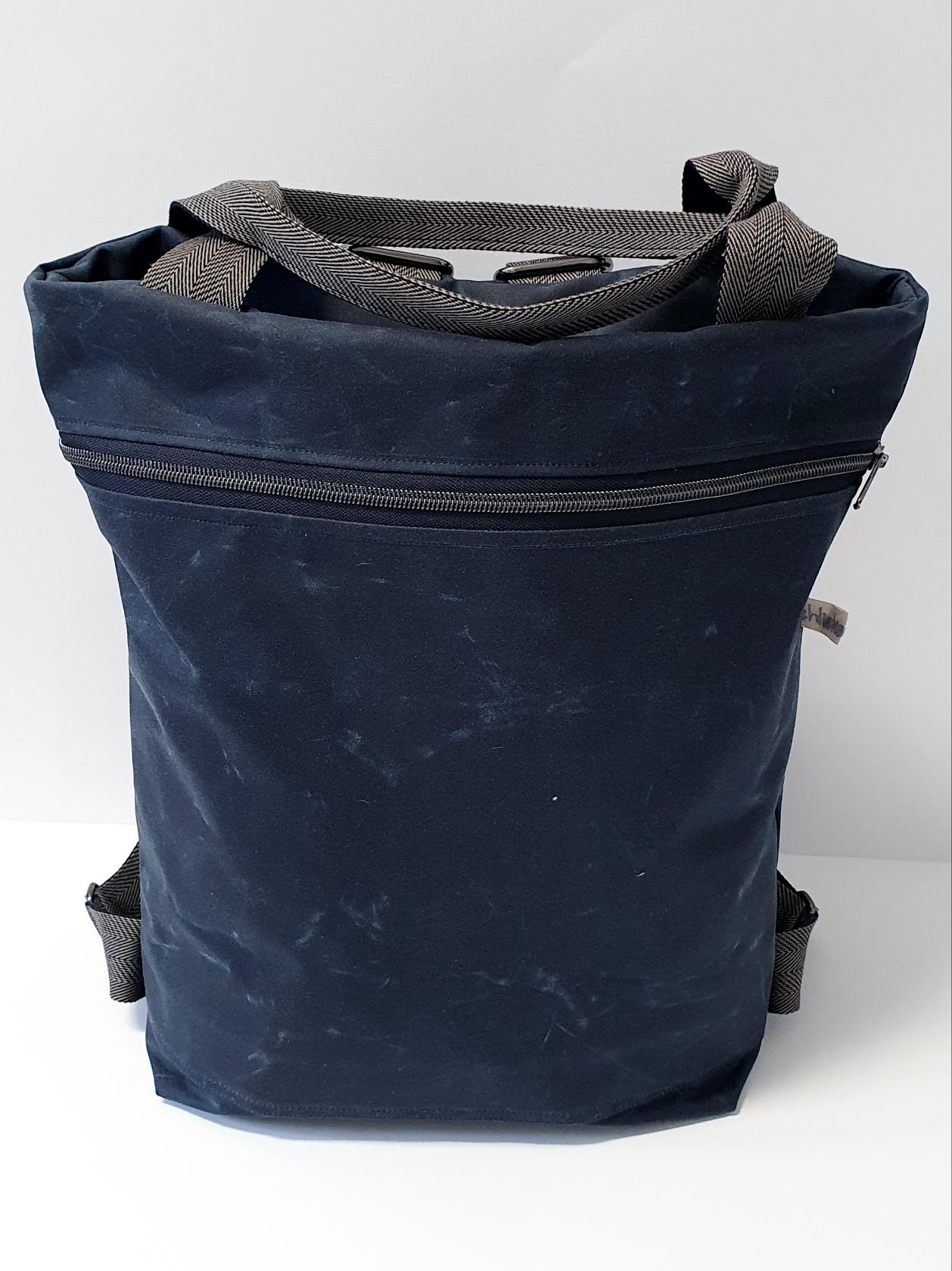 2in1 Bag Oilskin navy
