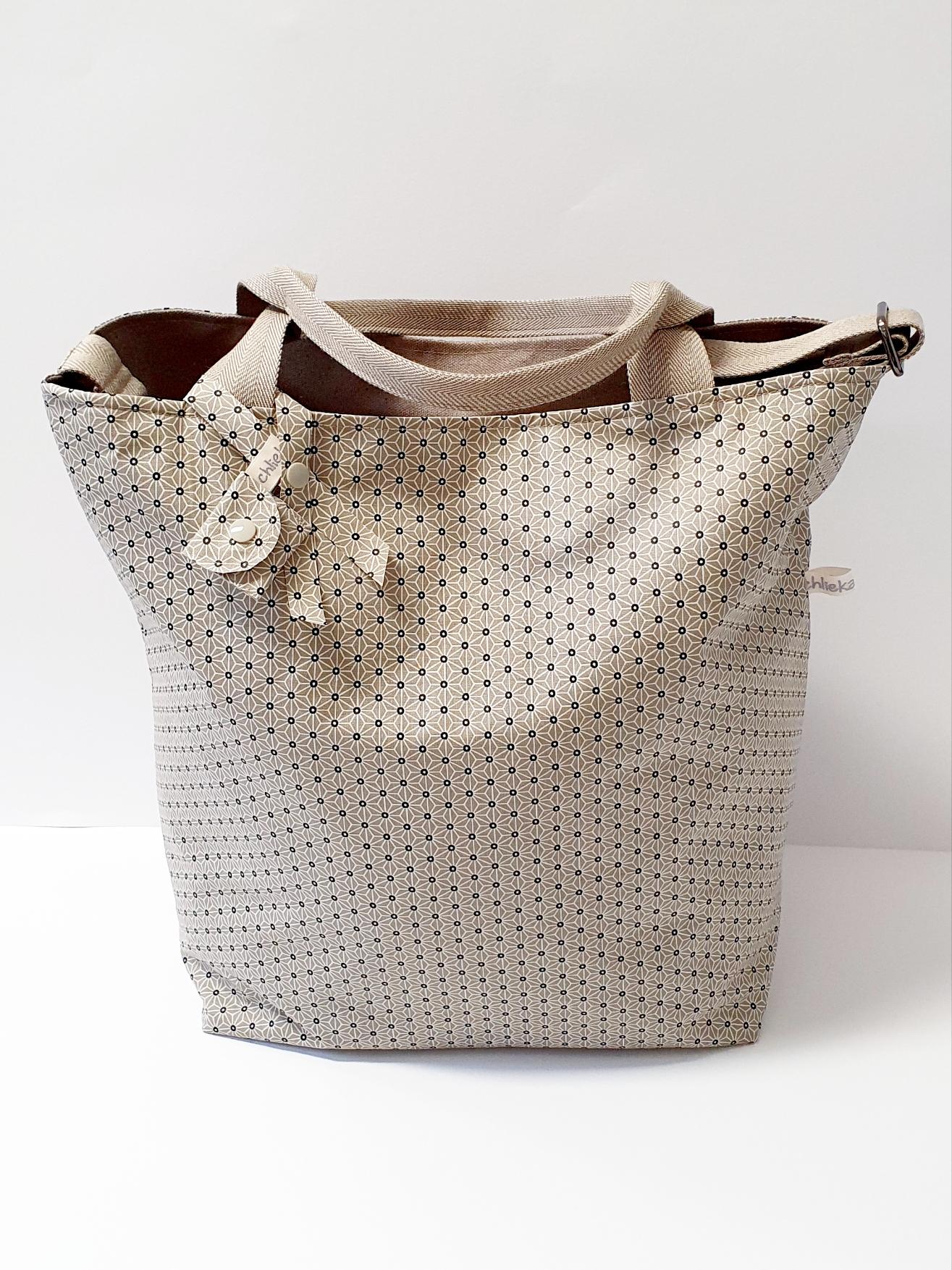 Shopper / Einkaufstasche, Sternblume beige, verkauft