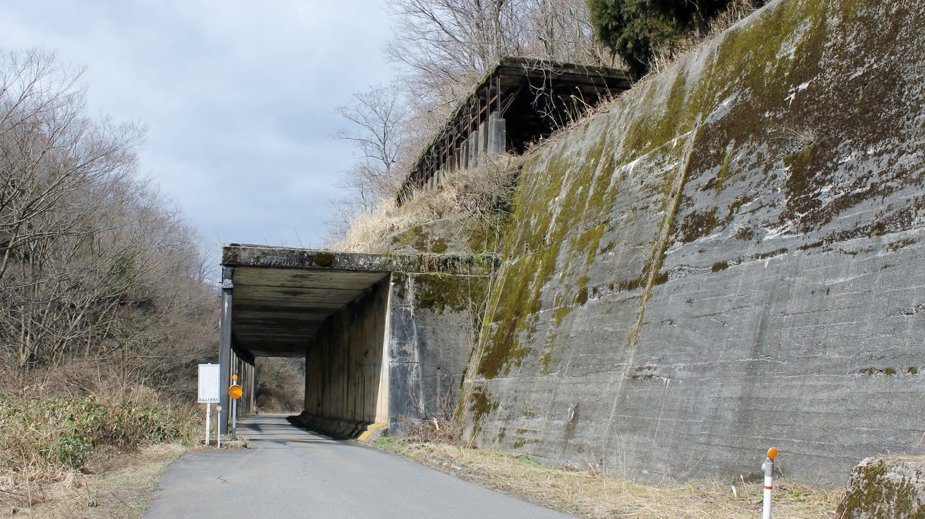 山中信号所手前にあるロックシェッド。上部は待避線用のロックシェッド。