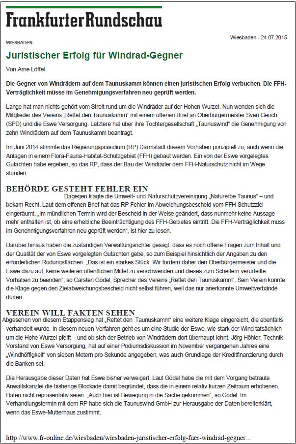 Frankfurter Rundschau v. 24.07.2015