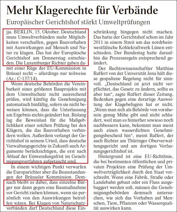 FAZ v. 16.10.2015 - Wegweisend auch für den Bau von Windrädern!