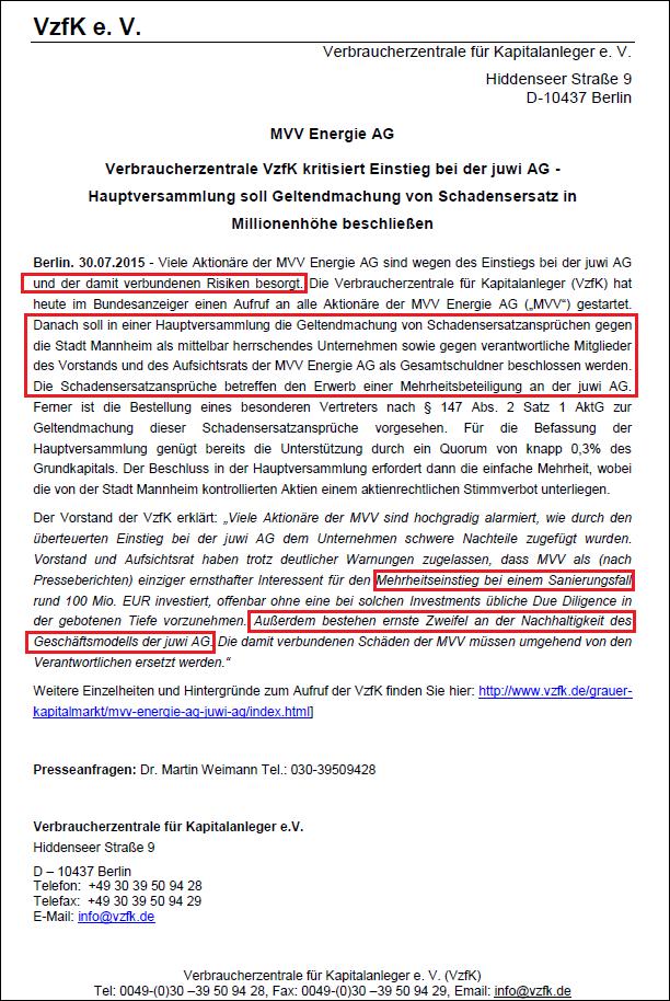 Verbraucherzentrale für Kapitalanleger e.v. vom 30.07.2015