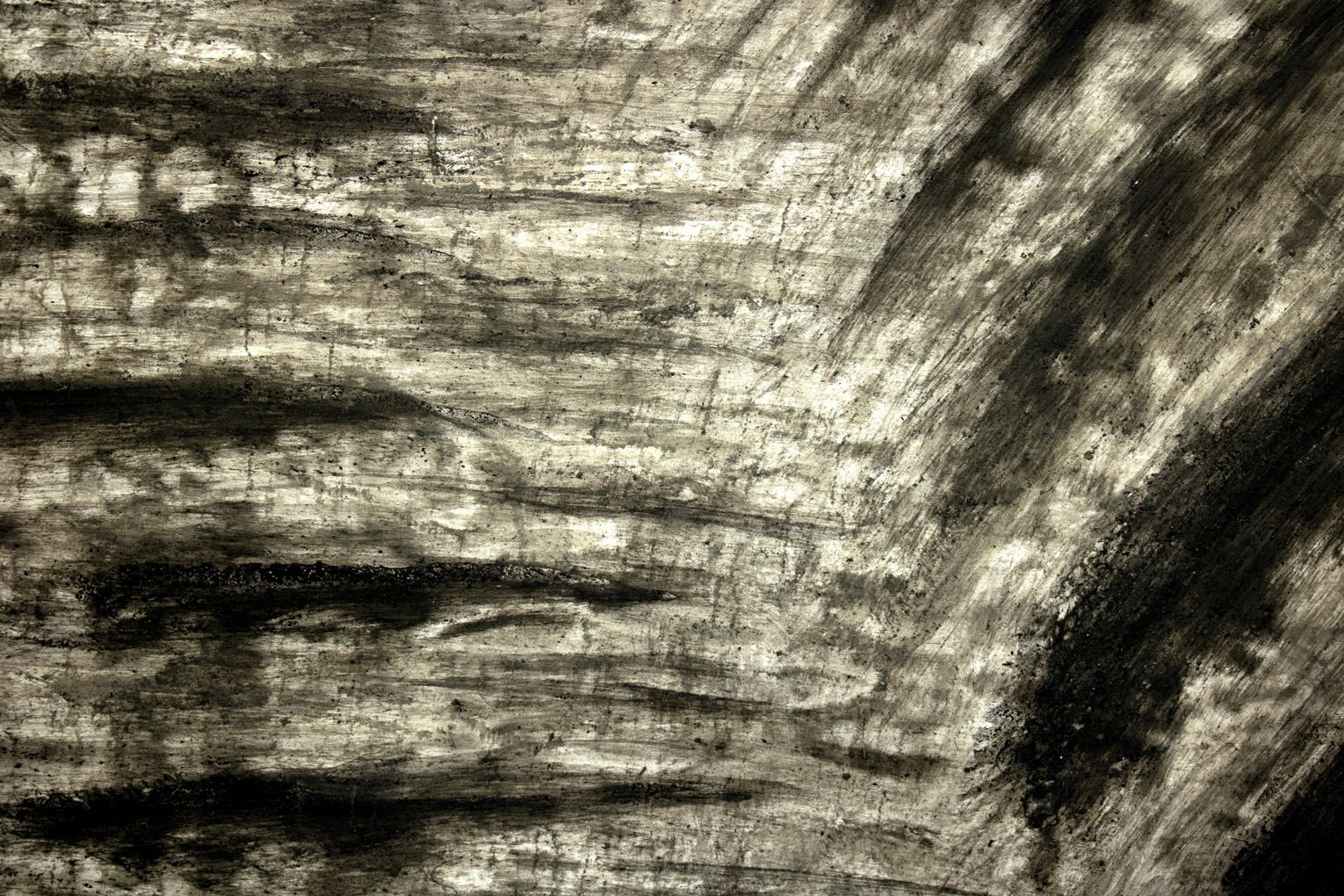 Detail of monosema - 2019 - ashes on paper, 140 x 320 cm