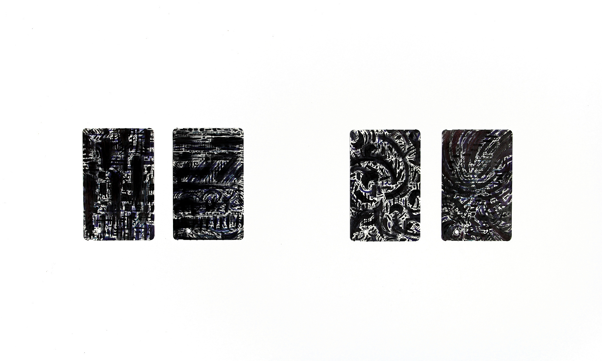 monosema - inks on printed and shaped paper, each one 8,5 x 5,5 cm - 3,3 x 2,1 in _ 2017/20