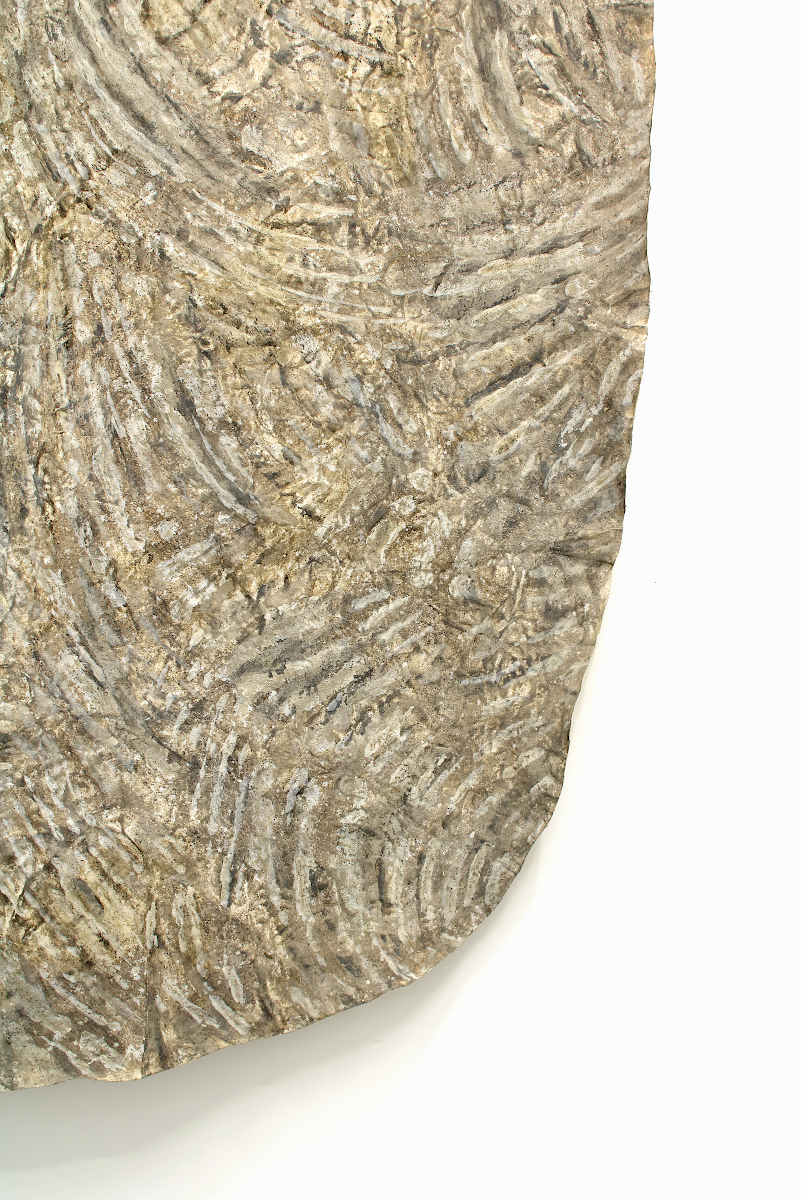 Detail of monosema - 2018 - ash, clay, soil on shaped canvas, 233 x 153 x 13 cm   91,7 x 60,2 x 5 in