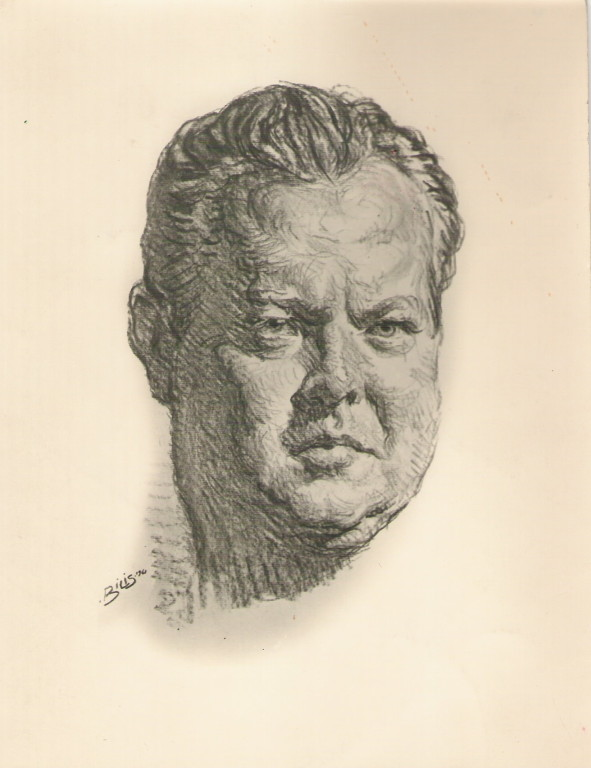 Orson Welles 1961 fusain André Aaron Bilis