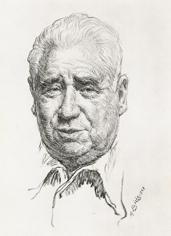 Janniot Alfred, sculpteur 1969 fusain André Aaron Bilis