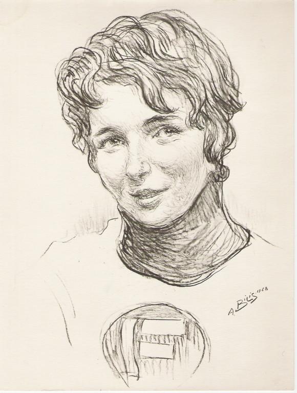 Marielle Goitschel   1968 fusain André Aaron Bilis