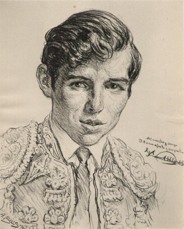 El Cordobes  torero 1961 fusain André Aaron Bilis