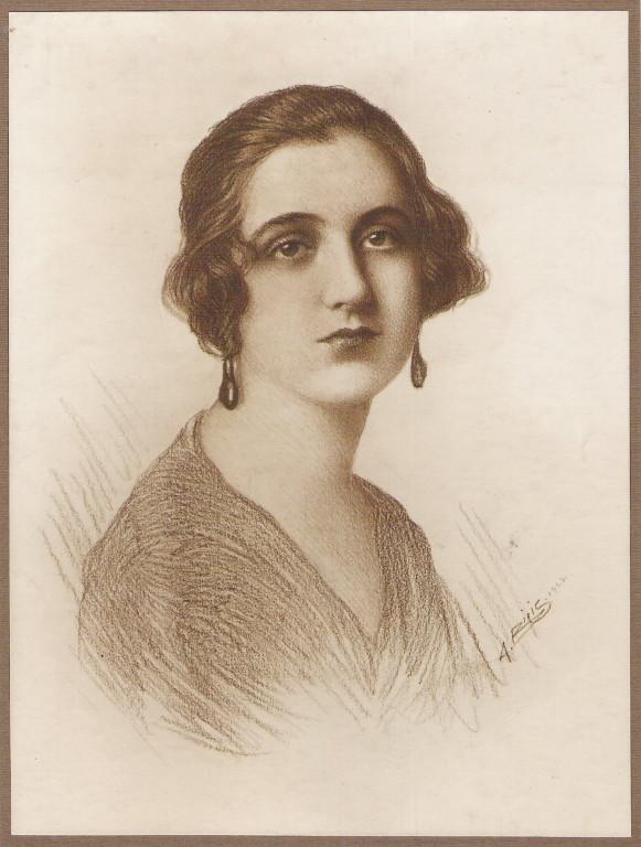 Señora Matilda Ortis Basualdo 1923 fusain André Aaron Bilis