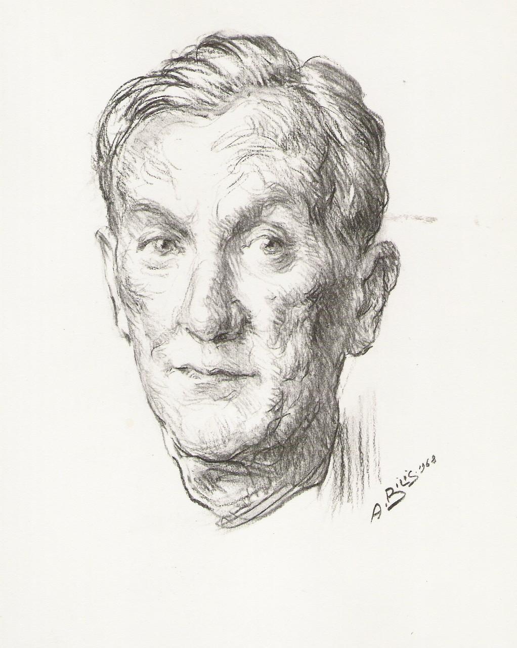 Jean Effel 1968 fusain André Aaron Bilis