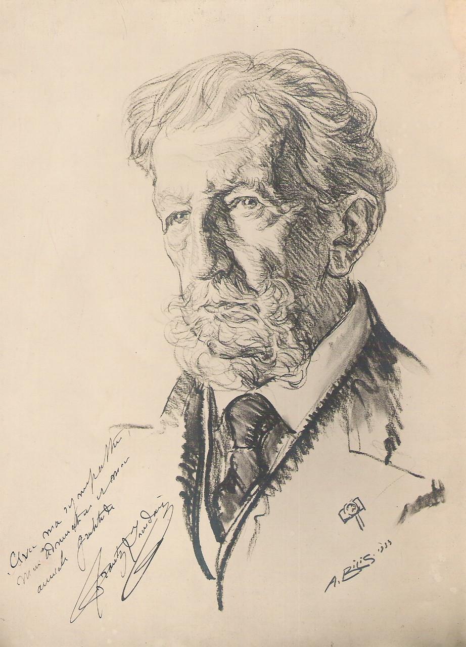 Frantz Jourdain architecte  1933 fusain André Aaron BILIS
