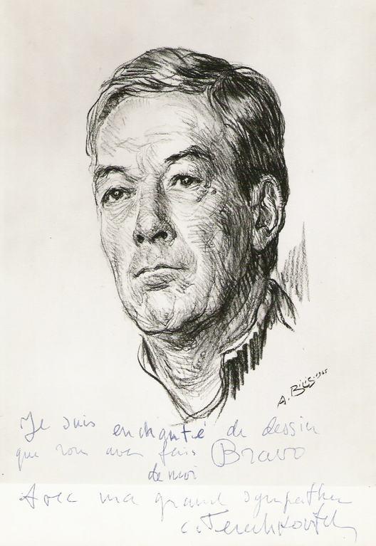 Terechkovitch Kostia,peintre 1965 fusain André Aaron Bilis
