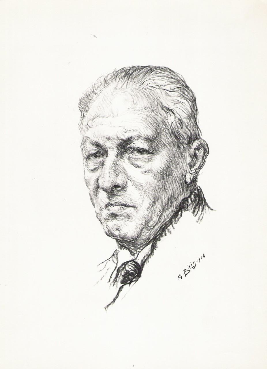 Jean Chieze  graveur 1968 fusain André Aaron Bilis