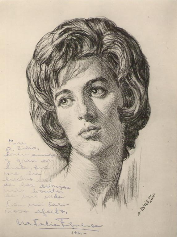 Natalia Figeroa 1960 fusain André Aaron Bilis