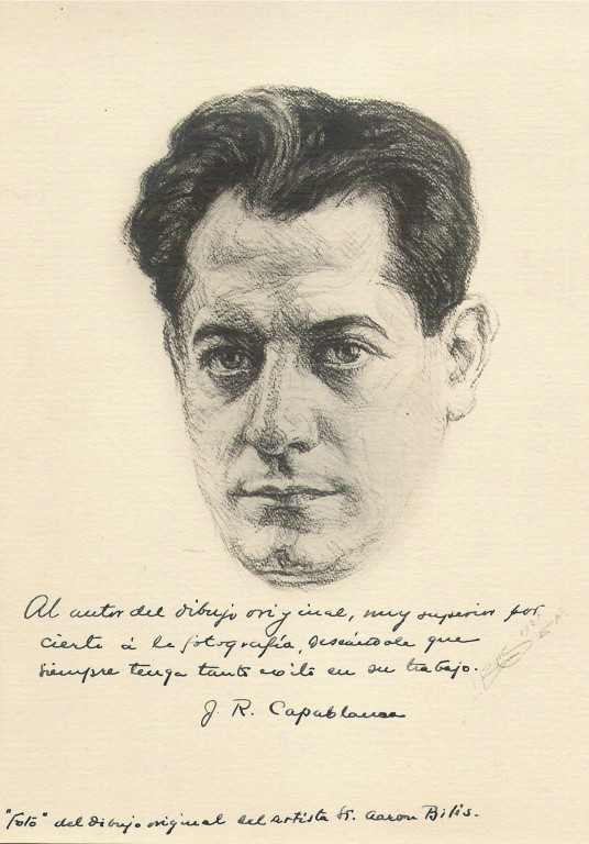 Capablanca champion monde echecs 1927 fusain André Aaron Bilis