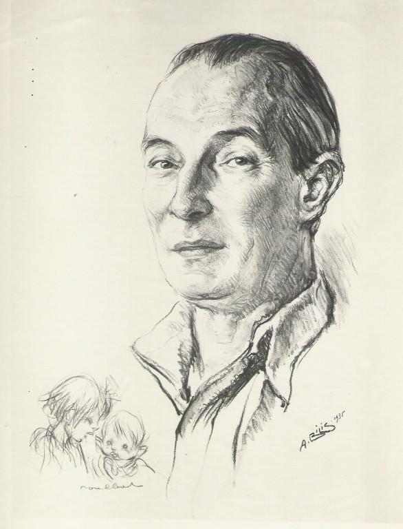 Poulbot, peintre 1935 fusain André Aaron Bilis
