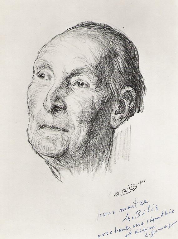Survage Leopold, peintre 1945 fusain André Aaron Bilis
