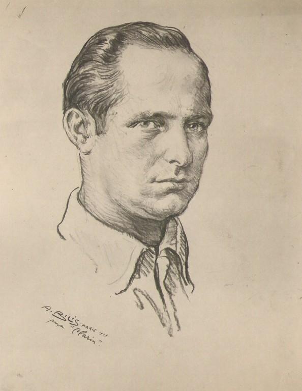 Fangio 1949 courreur automobile fusain André Aaron Bilis