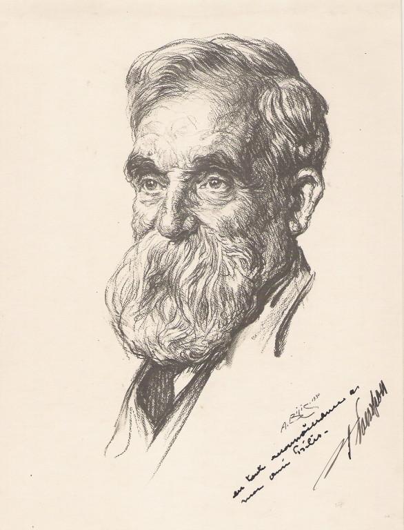 François Pompon, sculpteur 1930 fusain André Aaron Bilis