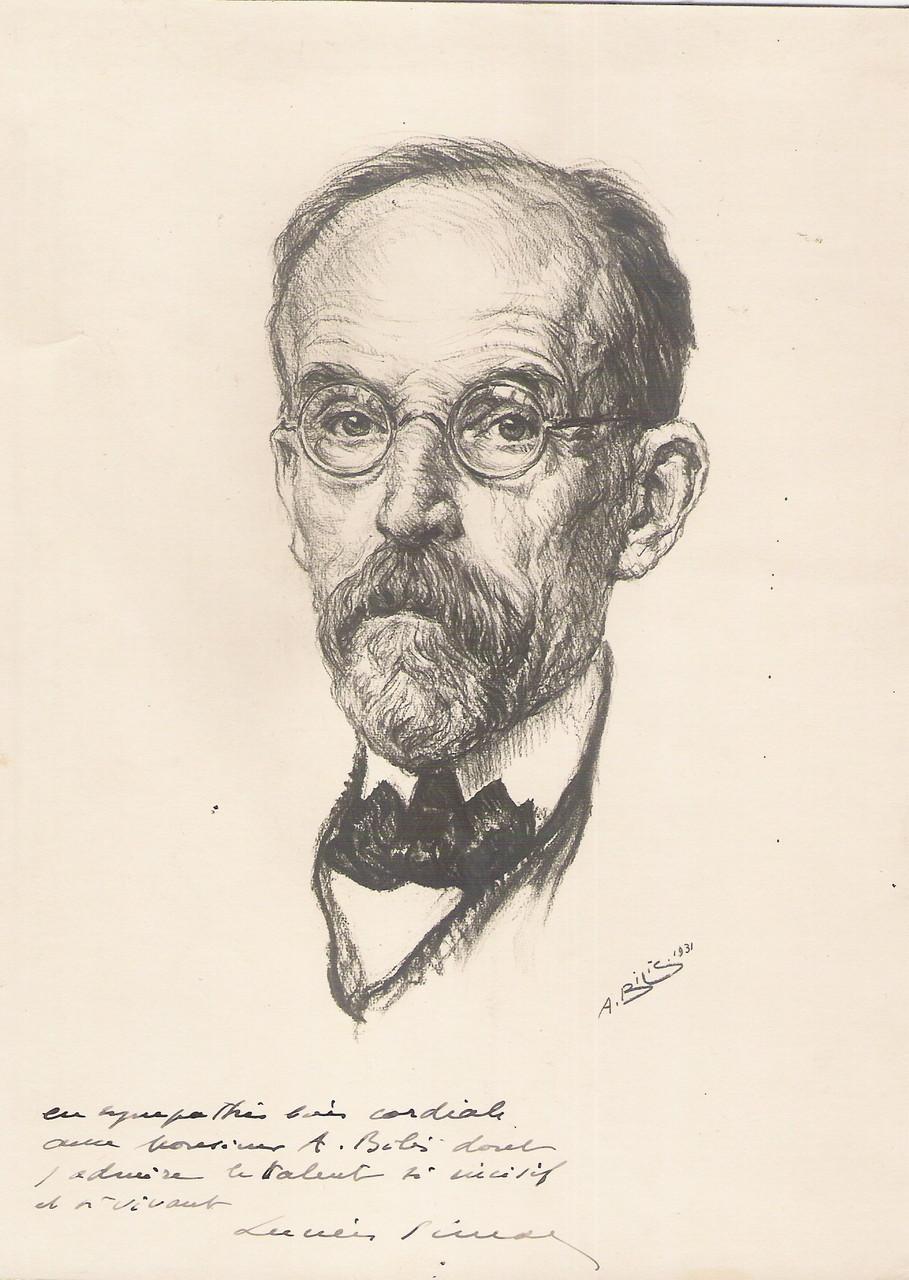 Lucien Simon  peintre 1931 fusain André Aaron Bilis