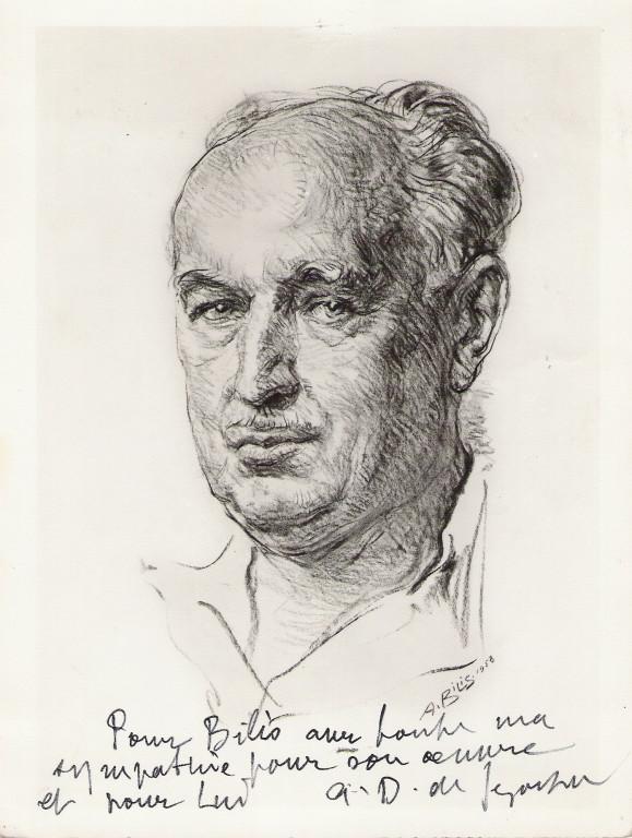 Dunoyer de Segonzac, peintre 1958 fusain André Aaron Bilis
