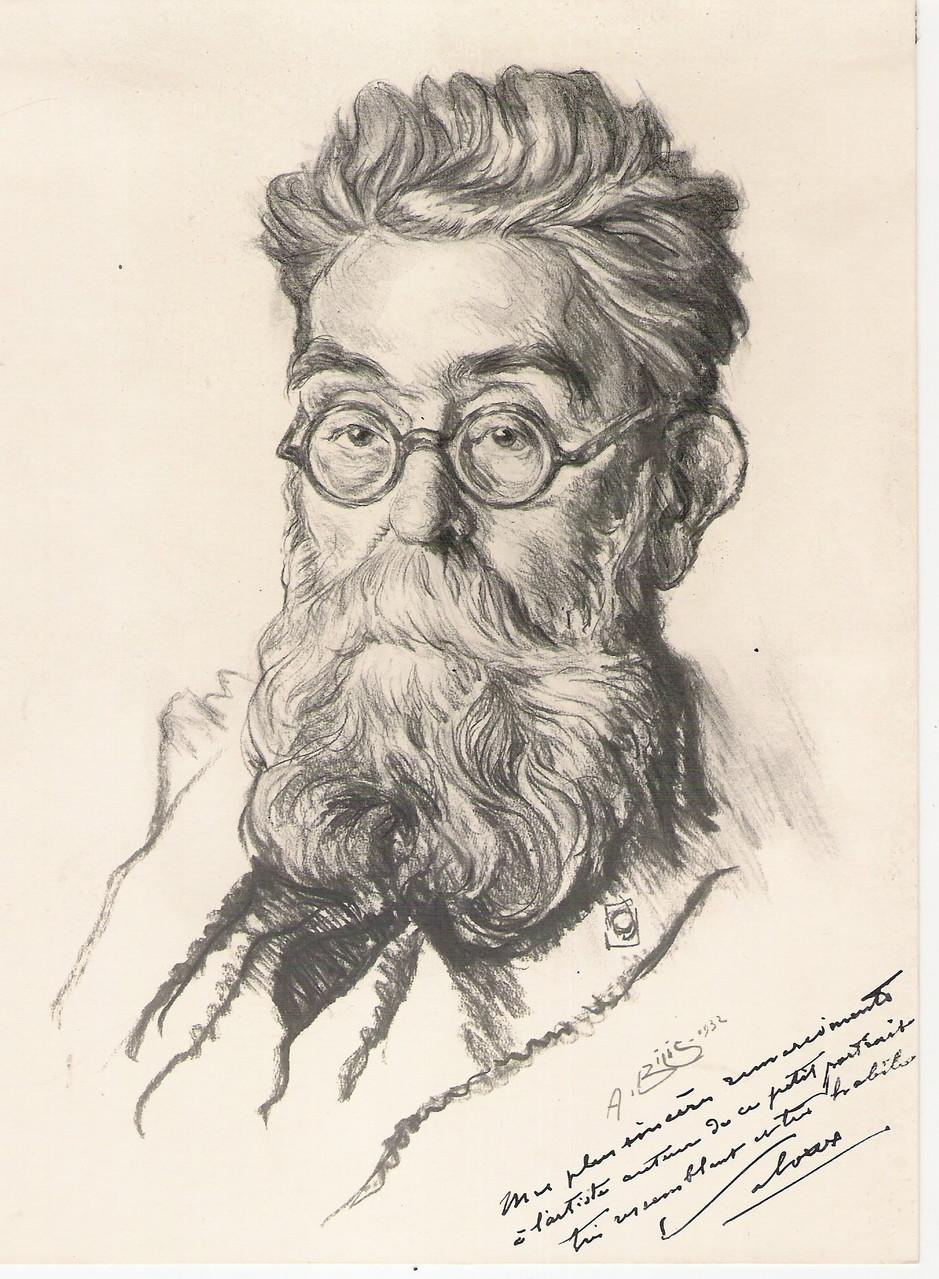 Victor Laloux architecte de la gare d'orsay 1932 fusain André Aaron BILIS