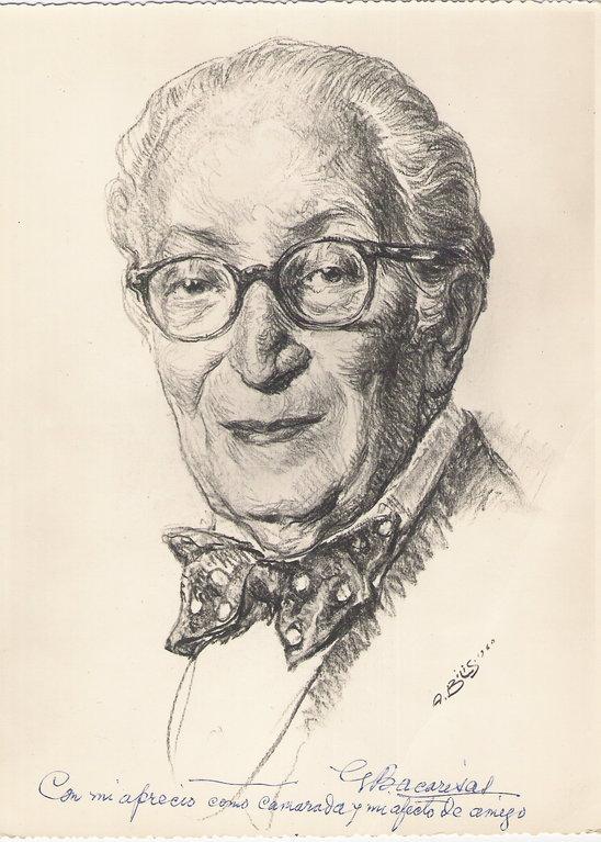 Bacarisas Gustavo, peintre 1960 fusain André Aaron Bilis