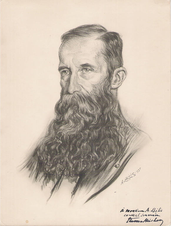 Michon Etienne, conservateur du musé du Louvre 1935 fusain André Aaron Bilis