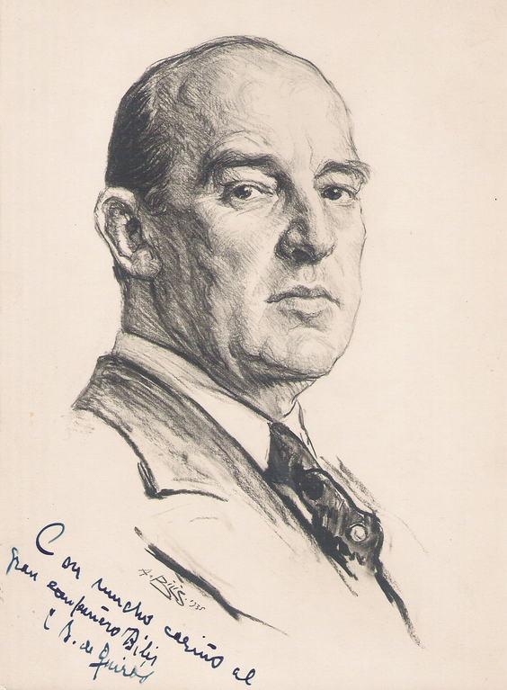 Cesareo Bernaldo de Quiros, peintre 1935 fusain André Aaron Bilis