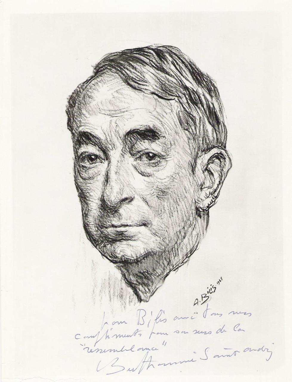 Louis Barthommé Saint André  peintre 1965 fusain André Aaron Bilis