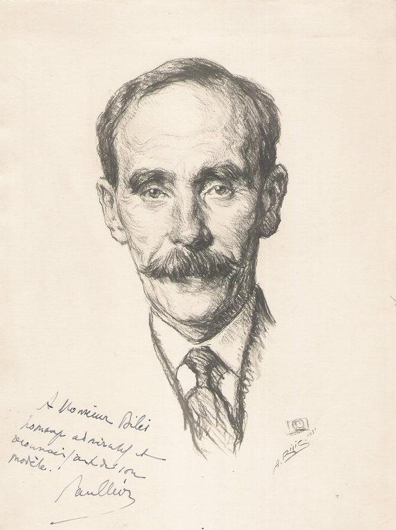 Leon Paul, directeur des beaux arts 1931 fusain André Aaron Bilis