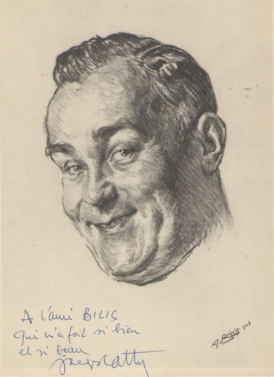 Jacques Cathy  1948 fusain André Aaron Bilis
