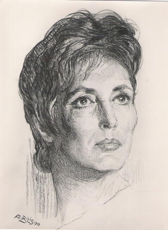 Amalia Rodriguez 1968 fusain André Aaron Bilis