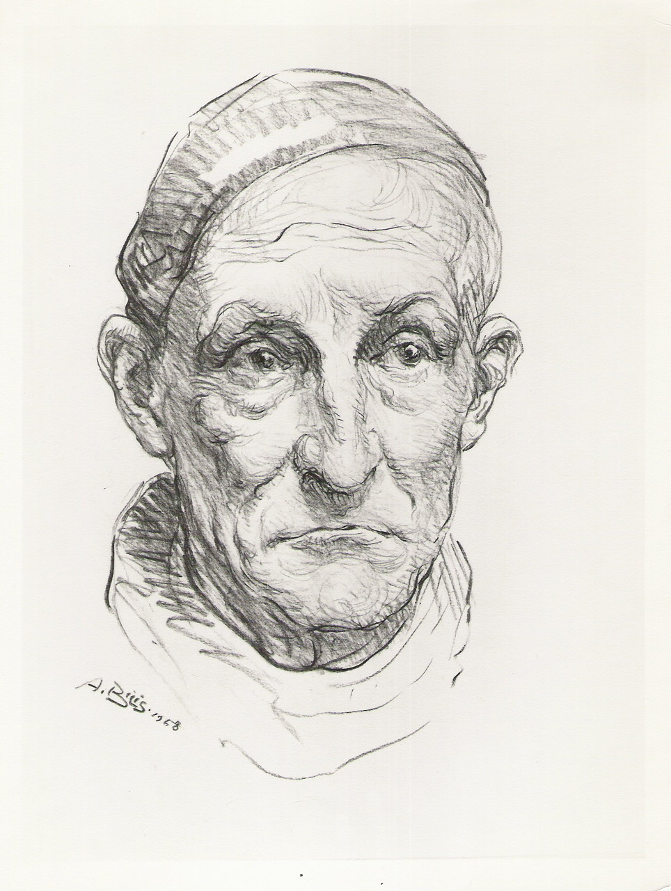 Albert Decaris graveur 1958 fusain André Aaron Bilis