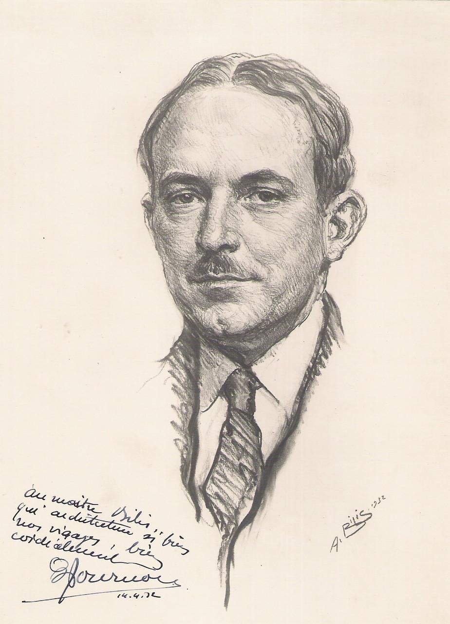 Paul Tournon architecte 1932 fusain André Aaron BILIS