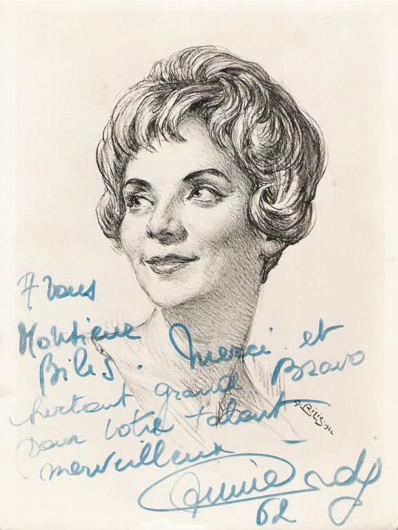 Annie Cordy 1962 fusain André Aaron Bilis