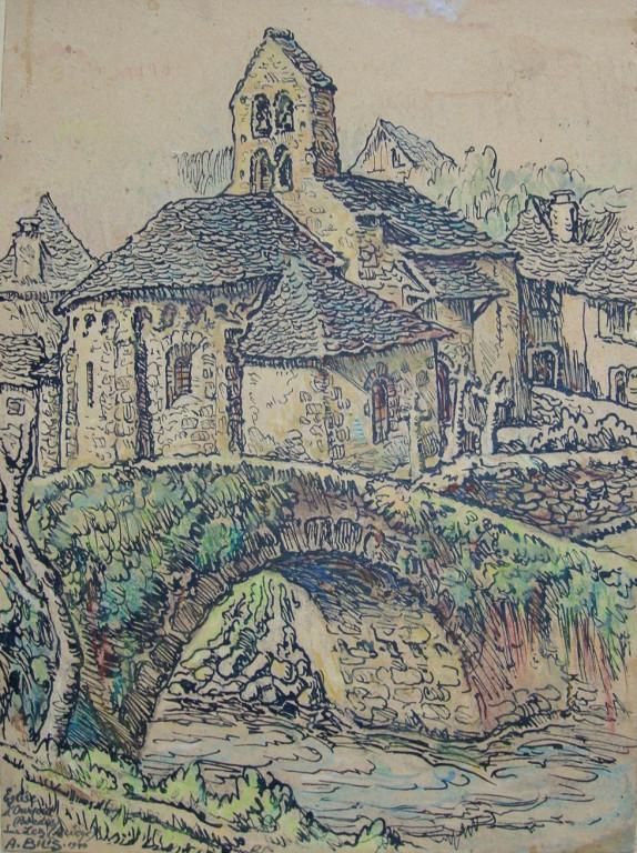 Eglise d'Ourjout Ariège 1940 André Aaron Bilis